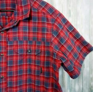 Columbia red plaid short sleeve snap button down